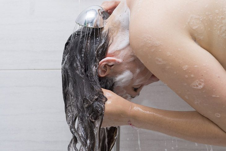 wash your hair with the shampoo