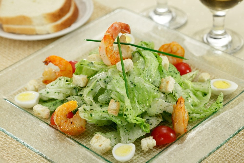 shrimp and eggs on romaine lettuce for grow hair faster